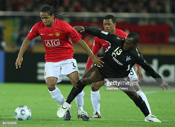 Anderson of Manchester United clashes with Neicer Reasco of LDU Quito during the FIFA World Club Cup Final match between LDU Quito and Manchester...