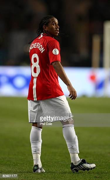 Anderson of Manchester United during the UEFA Super Cup between Manchester United and Zenit St.Petersburg at the Stade Louis II on August 29, 2008 in...