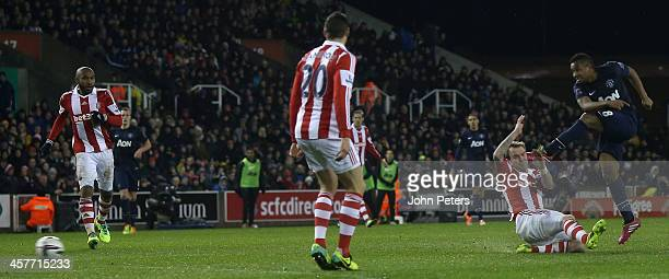 Anderson of Manchester United has a shot on goal during the Capital One Cup Fifth Round match between Stoke City and Manchester United at Britannia...