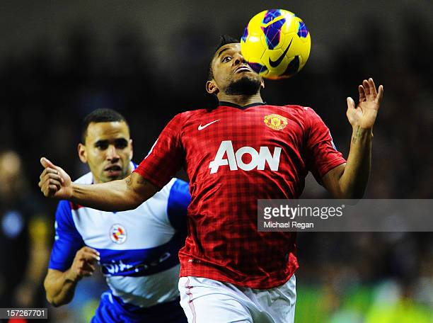 Anderson of Manchester United in action against Hal RobsonKanu of Reading during the Barclays Premier League match between Reading and Manchester...
