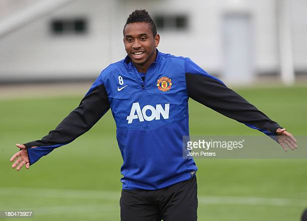 Anderson of Manchester United in action during a first team training session at Aon Training Complex on September 13 2013 in Manchester England