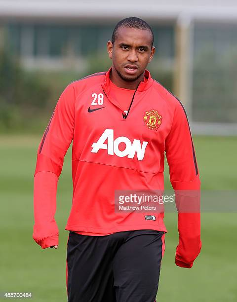 Anderson of Manchester United in action during a first team training session at Aon Training Complex on September 19 2014 in Manchester England
