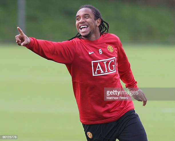 Anderson of Manchester United in action during a First Team Training Session at Carrington Training Ground on August 28 2009 in Manchester England