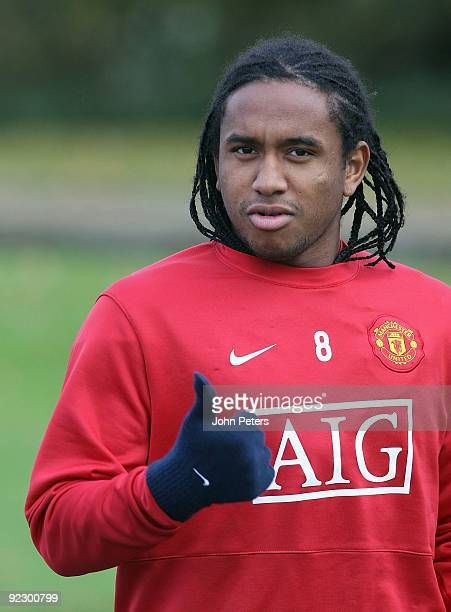 Anderson of Manchester United in action during a First Team Training Session at Carrington Training Ground on October 23 2009 in Manchester England