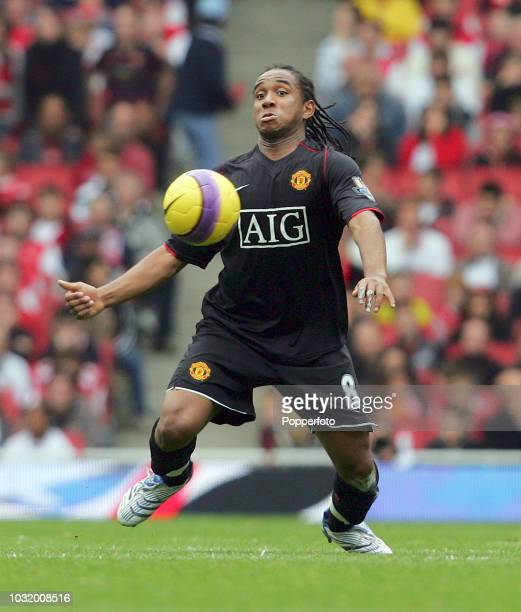 Anderson of Manchester United in action during the Barclays Premier League match between Arsenal and Manchester United at the Emirates Stadium in...