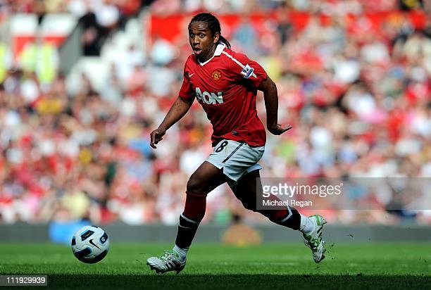 Anderson of Manchester United in action during the Barclays Premier League match between Manchester United and Fulham at Old Trafford on April 9 2011...