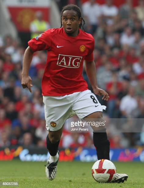 Anderson of Manchester United in action during the FA Premier League match between Manchester United and Bolton Wanderers at Old Trafford on...
