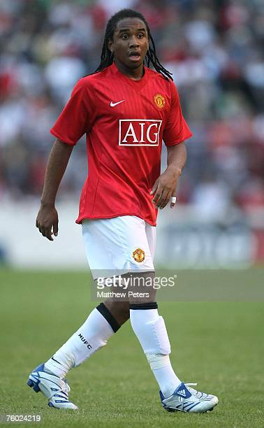 Anderson of Manchester United in action during the preseason friendly match between Glentoran FC and Manchester United at The Oval on August 8 2007...