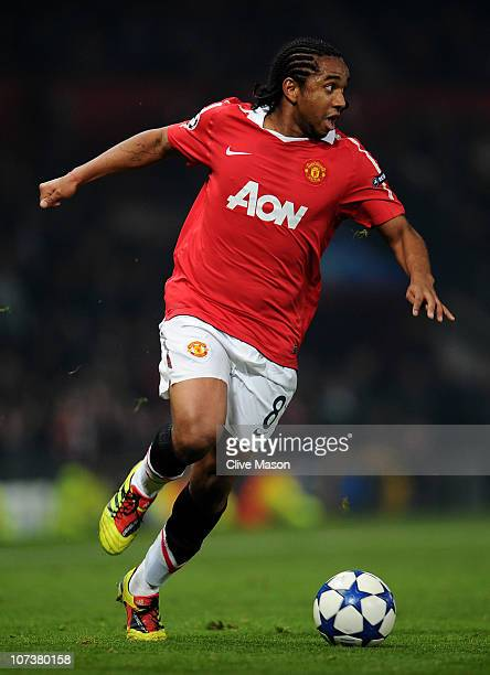 Anderson of Manchester United in action during the UEFA Champions League Group C match between Manchester United and Valencia at Old Trafford on...
