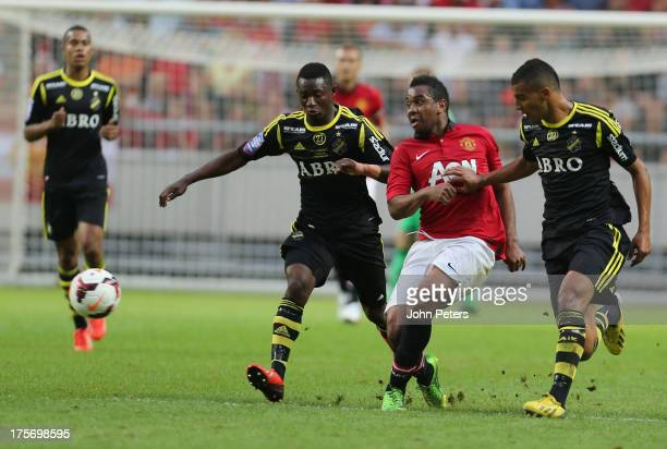 Anderson of Manchester United in action with Nabil Bahoui of AIK Fotboll during the preseason friendly match between AIK Fotboll and Manchester...