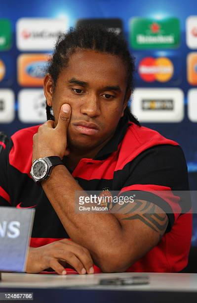 Anderson of Manchester United looks on during a press conference ahead of the UEFA Champions League Group C match between SL Benfica and Manchester...