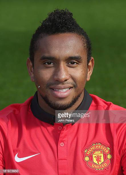 Anderson of Manchester United poses at the annual club photocall at Old Trafford on September 26 2013 in Manchester England