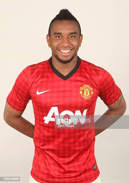 Anderson of Manchester United poses in the new Manchester United kit at Carrington Training Ground on August 21 2012 in Manchester England