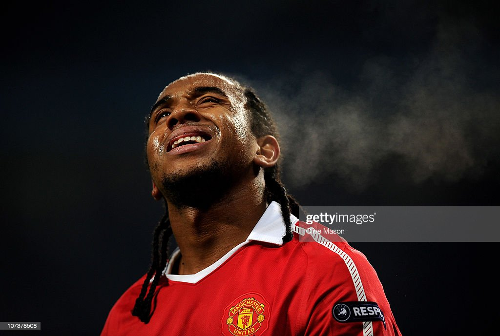 Anderson of Manchester United reacts to a missed chance during the UEFA Champions League Group C match between Manchester United and Valencia at Old Trafford on December 7, 2010 in Manchester, England.
