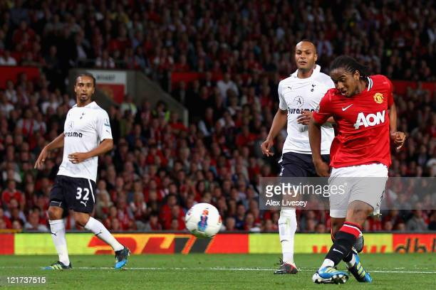 Anderson of Manchester United scores his side's second goal during the Barclays Premier League match between Manchester United and Tottenham Hotspur...