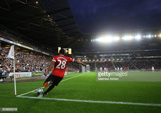 Anderson of Manchester United takes a corner kick at Stadium Mk home of MK Dons