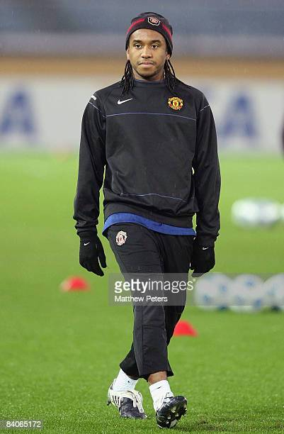 Anderson of Manchester United takes part in a First Team Training Session ahead of the World Club Cup at Yokohama International Stadium on December...