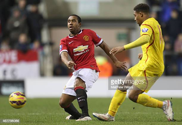Anderson of Manchester United U21s in action during the Barclays U21 Premier League match between Manchester United and Liverpool at Leigh Sports...