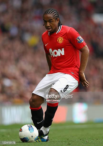 Anderson of Manchester United with the ball during the Barclays Premier League match between Manchester United and Arsenal at Old Trafford on August...