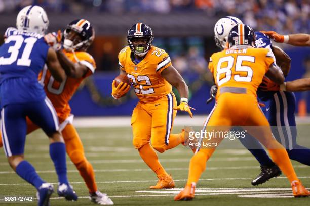 J Anderson of the Denver Broncos runs with the ball against the Indianapolis Colts during the first half at Lucas Oil Stadium on December 14 2017 in...