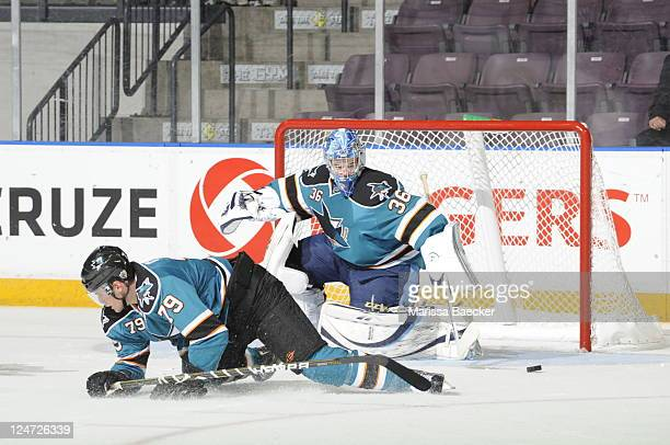 Anderson of the San Jose Sharks makes a save against the Calgary Flames during the third period of the 2001 Vancouver Canucks NHL Young Stars...