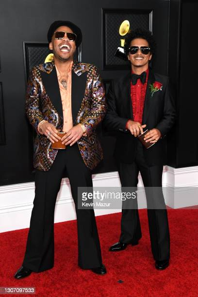 Anderson .Paak and Bruno Mars attend the 63rd Annual GRAMMY Awards at Los Angeles Convention Center on March 14, 2021 in Los Angeles, California.