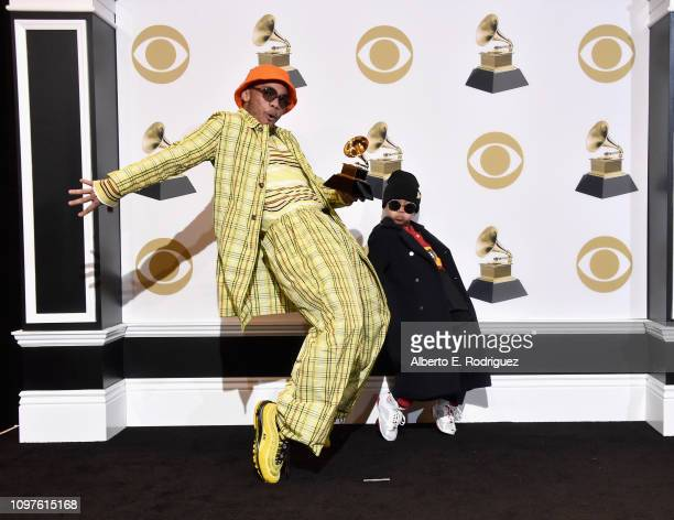 Anderson Paak and guest pose in the press room during the 61st Annual GRAMMY Awards at Staples Center on February 10 2019 in Los Angeles California