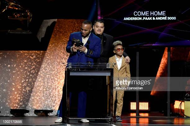 Anderson Paak and Soul Rasheed accept the Best RB Performance award for Come Home [ft Andre 3000] onstage during the 62nd Annual GRAMMY Awards...