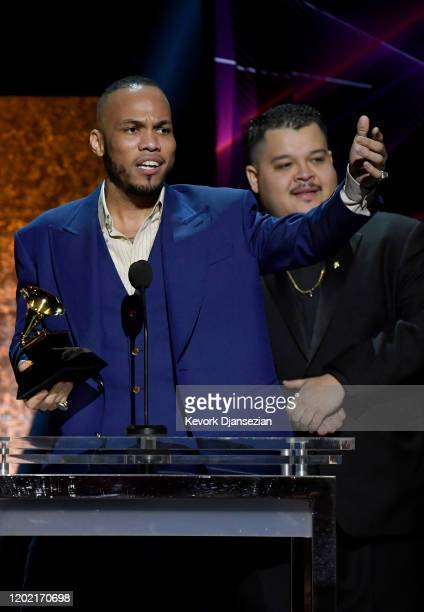 Anderson Paak and Soul Rasheed accept the Best RB Performance award for Coming Home [ft Andre 3000] onstage during the 62nd Annual GRAMMY Awards...