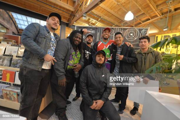 Anderson Paak and The Free Nationals with a fan at Space 15 Twenty on March 22 2017 in Los Angeles California