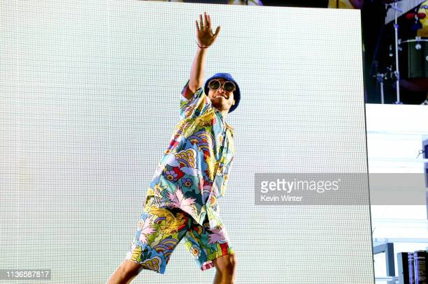Anderson Paak performs on Coachella Stage during the 2019 Coachella Valley Music And Arts Festival on April 12 2019 in Indio California