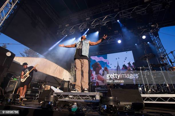 Anderson Paak performs on stage with The Free Nationals at St Jerome's Laneway Festival on February 11 2018 in Fremantle Australia
