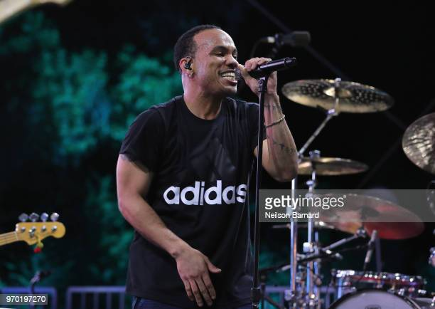 Anderson Paak performs onstage at adidas x Parley 'Run For The Oceans' event harnessing the power of sport and continued fight against the threat of...