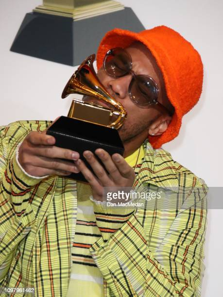 Anderson Paak poses in the press room with his award for Best Rap Performance award for 'Bubblin' during the 61st Annual GRAMMY Awards at the Staples...