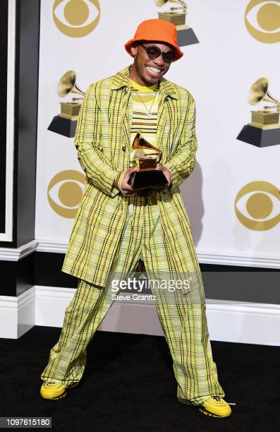 Anderson Paak poses in the pressroom with award for Best Rap Performance during the 61st Annual GRAMMY Award at Staples Center on February 10 2019 in...