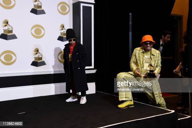 Anderson Paak winner of Best Rap Performance 'Bubblin'' poses in the press room with Soul Rasheed during the 61st Annual GRAMMY Awards at Staples...