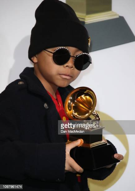 Anderson Paak's son Soul Rasheed poses in the press room with his award for Best Rap Performance award for 'Bubblin' during the 61st Annual GRAMMY...