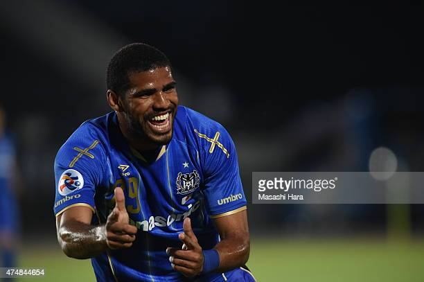 Anderson Patric Aguiar Oliveira of Gamba Osaka celebrates the first goal during the AFC Champions League Round of 16 match between Gamba Osaka and FC...
