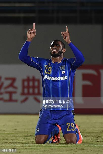 Anderson Patric Aguiar Oliveira of Gamba Osaka celebrates their unblievable come back --- during the AFC Champions League quarter final match between...