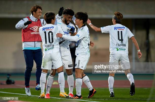 Anderson Patric Aguiar Oliveira of Gamba Osaka celebrates with his teammate after scoring a goal during the J.League Meiji Yasuda J1 match between...