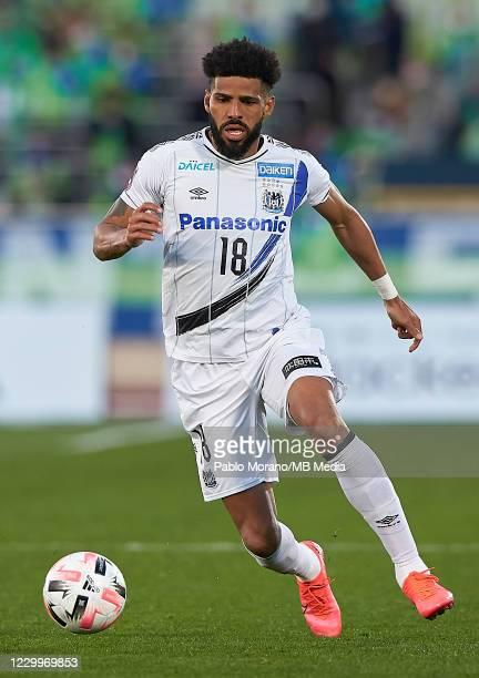 Anderson Patric Aguiar Oliveira of Gamba Osaka in action during the J.League Meiji Yasuda J1 match between Shonan Bellmare and Gamba Osaka at the...