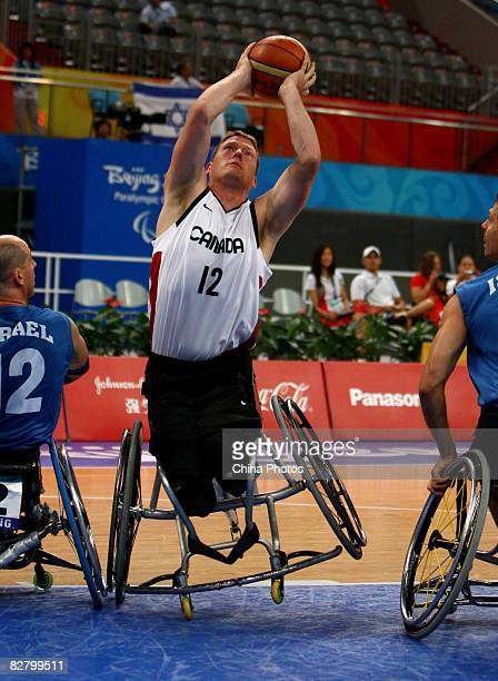 Anderson Patrick of Canada competes in the Wheelchair Basketball match between Canada and Israel at the National Indoor Stadium during day seven of...