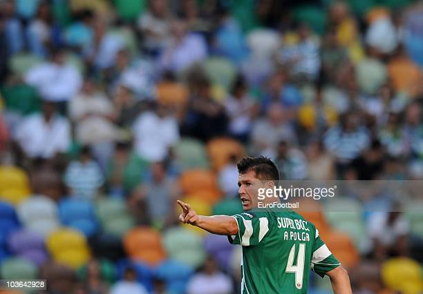 Anderson Polga of Sporting Lisbon gestures during the Portuguese Liga football match between Sporting Lisbon and Maritimo at Alvalade Stadium on...