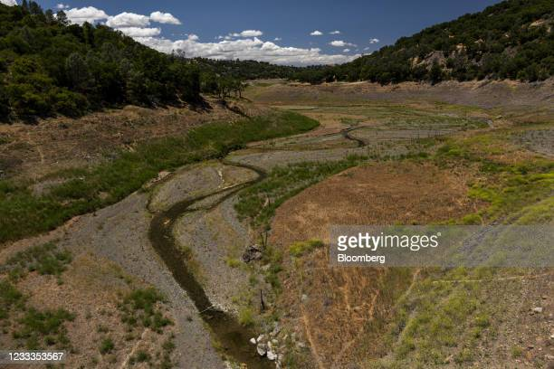 Anderson Reservoir during a drought in Santa Clara County, California, U.S., on Tuesday, June 8, 2021. The Bay Area's most populous county will...