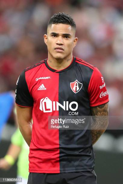 Anderson Santamaría of Atlas during the 14th round match between Atlas and Necaxa as part of the Torneo Clausura 2019 Liga MX at Jalisco Stadium on...
