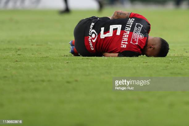 Anderson Santamaría of Atlas lies in pain during the 14th round match between Atlas and Necaxa as part of the Torneo Clausura 2019 Liga MX at Jalisco...