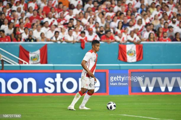 Anderson Santamaría of Peru in action during the International Friendly 'Clasico del Pacifico'u201d against Chile at Hard Rock Stadium on October 12...