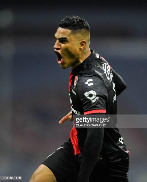 Anderson Santamaria of Atlas celebrates after scoring against Cruz Azul during their Mexican Clausura football tournament match at the Aztec stadium...