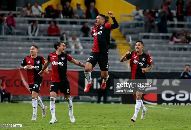 Anderson Santamaria of Atlas celebrates after scoring the first goal of his team with teammates during the 4th round match between Atlas and Lobos...