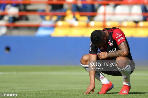 Anderson Santamaria of Atlas reacts during the 16th round match between Pachuca and Atlas as part of the Torneo Clausura 2019 Liga MX at Hidalgo...